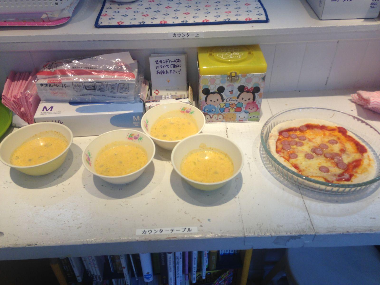 スープとピザ